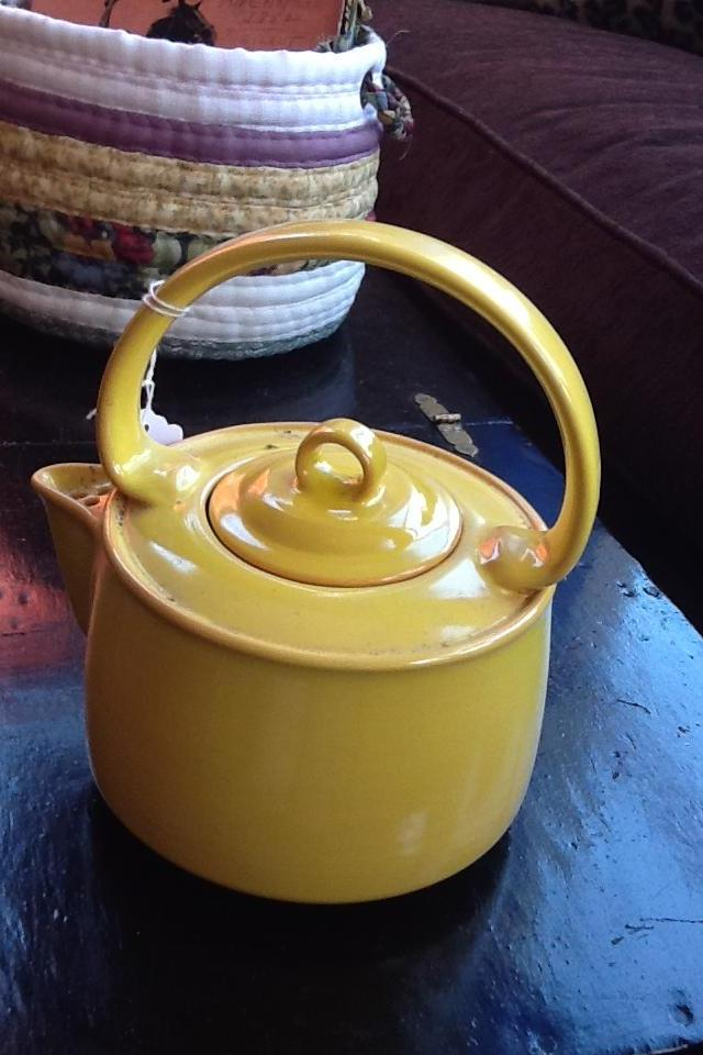 Vintage Sunny Yellow Ceramic Teapot Photo