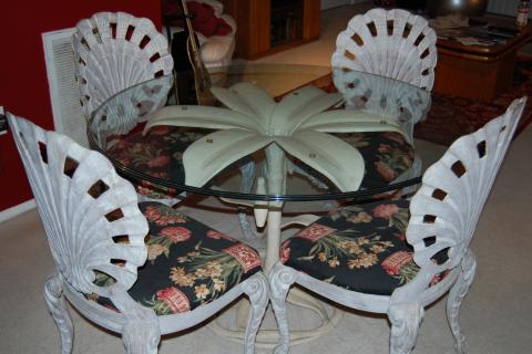 Pulaski Glasstop Table and Wrought Iron Chairs Photo