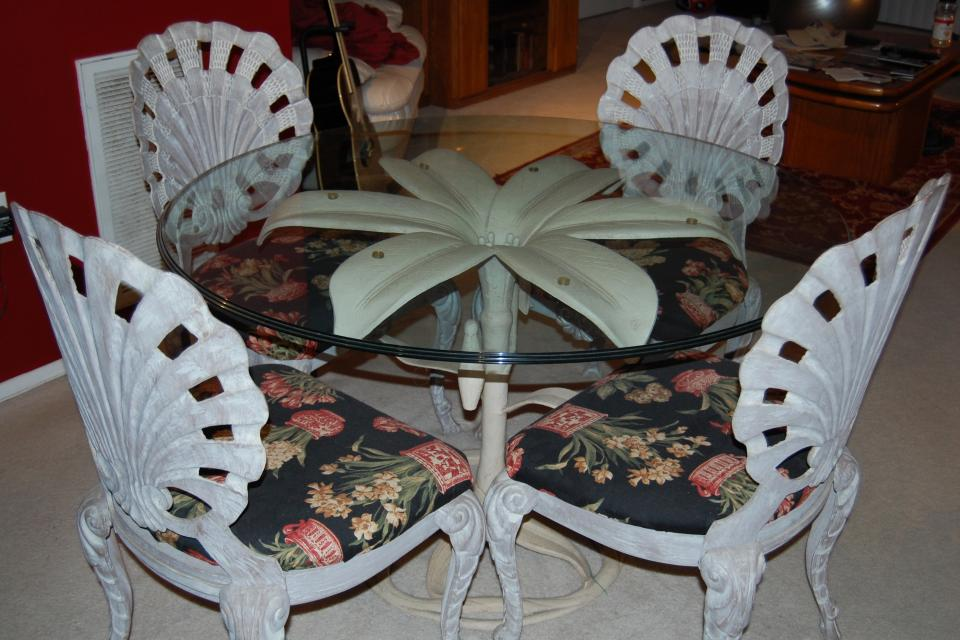 Pulaski Glasstop Table and Wrought Iron Chairs Large Photo