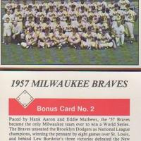 1979 TCMA BONUS CARD #2 ATLANTA BRAVES TEAM = AARON & MATHEWS MINT BV$10 Photo