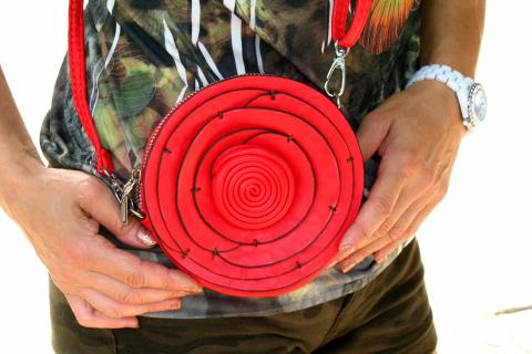 Red Leather Flower Purse Photo