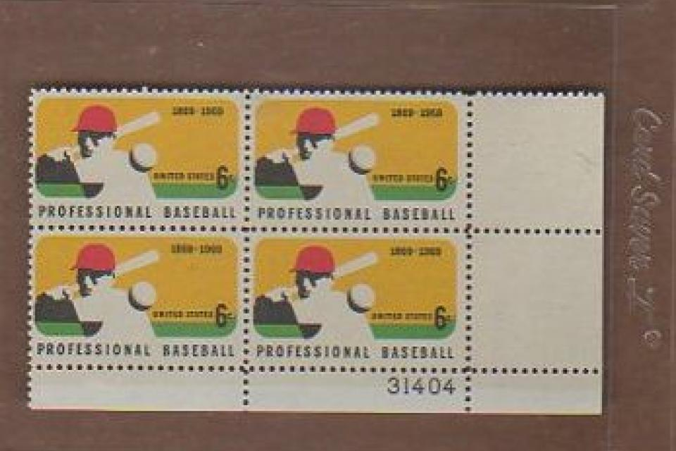 1969 BASEBALL 6 CENT STAMPS SCOTT #1381 PLATE BLOCK #31404 Large Photo