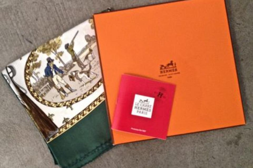 HERMES LA CHASSE TIR SCARF W/ORG BOX & INFO BOOKLET COLLECTOR PIECE!!! Large Photo