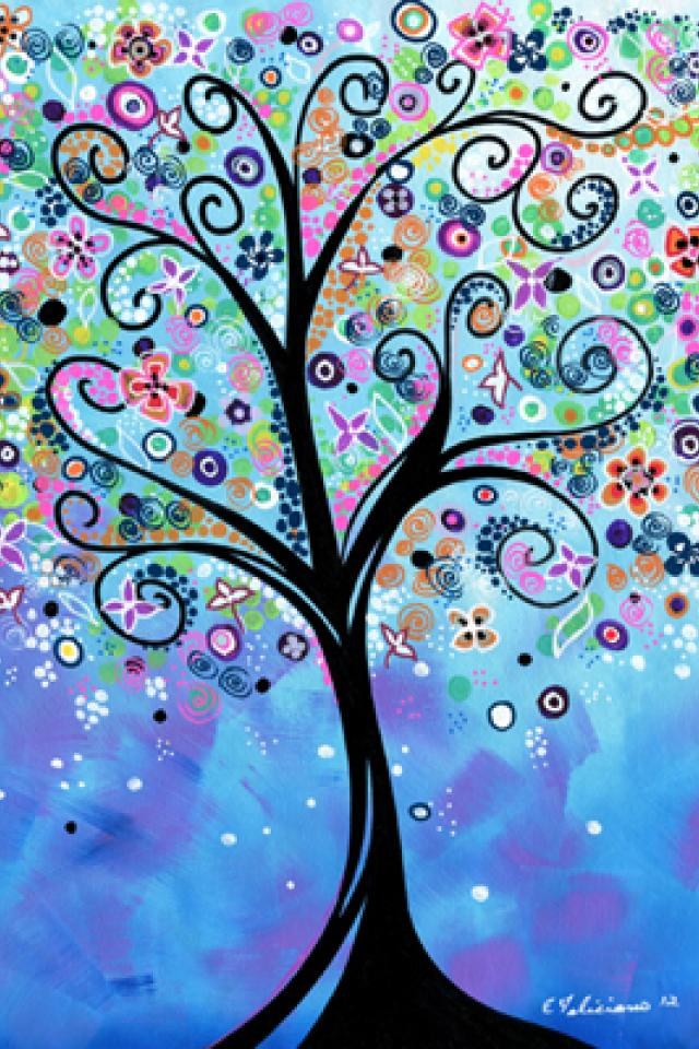 8 x 10 art print w/11x 14 mat Whimsical tree art...