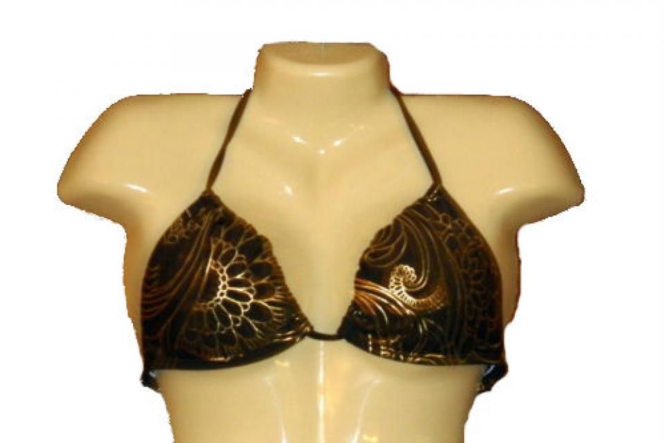 Womens Billabong Swimsuit Brown Gold Print Bikini Halter Top Summer Size D New Large Photo