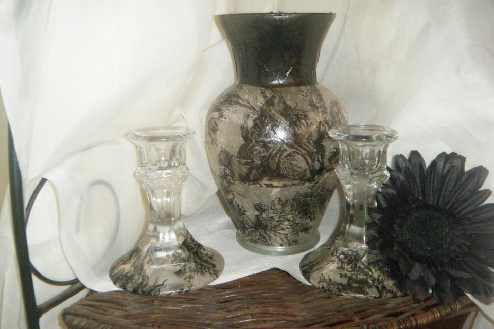 French Toile Vase Set(Blk) Large Photo