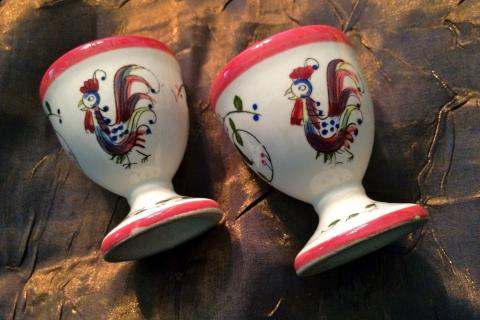 Set of (2) Antique Egg Cups Hand Painted w/ Free Shipping  Photo