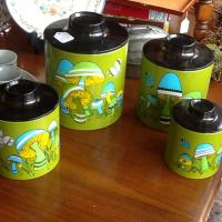 Vintage 1970's Groovy Mushroom Canisters Photo