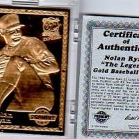 "NOLAN RYAN 1994 PROMINT ""THE LEGEND"" 22KT GOLD WITH COA Photo"
