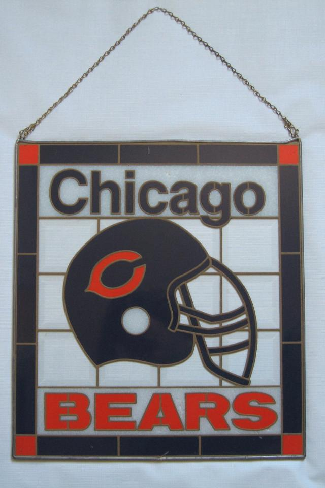 Vintage Chicago Bears 16 x 17.5 Plexi Glass Double Sided Sign Large Photo