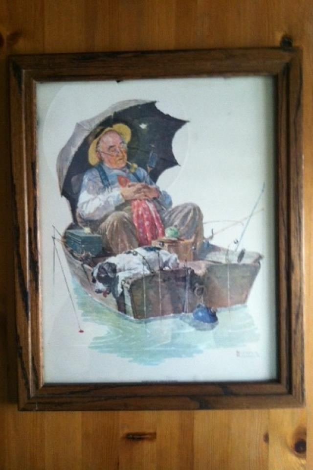 Norman Rockwell Gone Fishing/Grandpa Asleep in the Boat in Wood Frame (Hollywood) Large Photo