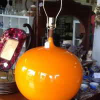 Mid Century Orange Ceramic Globe Lamps Photo