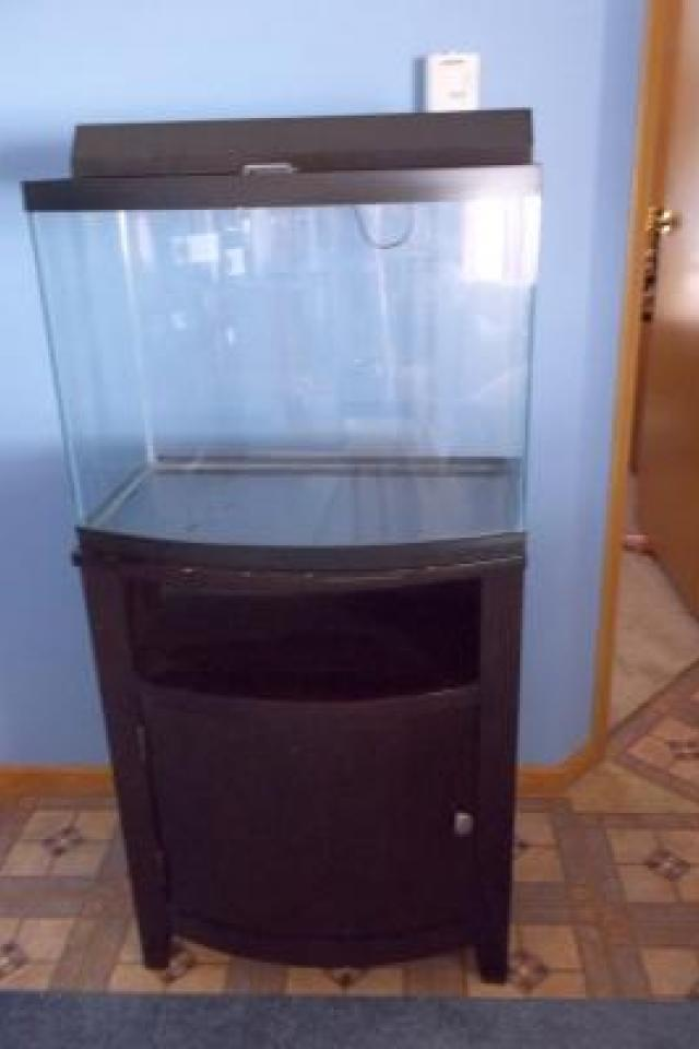 FOR SALE 28 GALLON BOW FRONT FISH TANK WITH STAND Photo