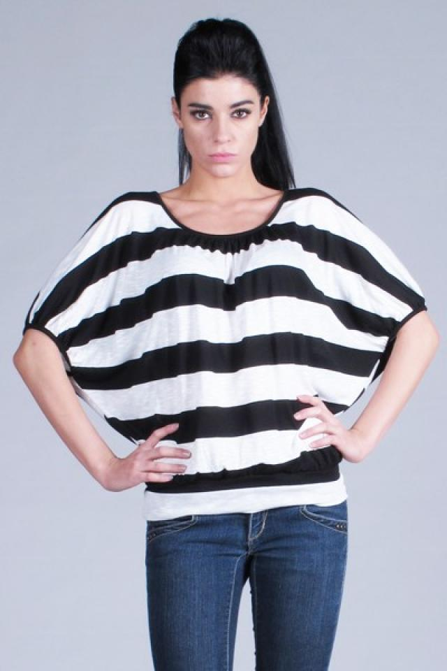 Black and White Striped Top  Photo