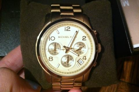 Michael Kors Goldtone 5055 'Runway' Chronograph Watch (W/ BOX & ORIG. PACKAGING) Photo