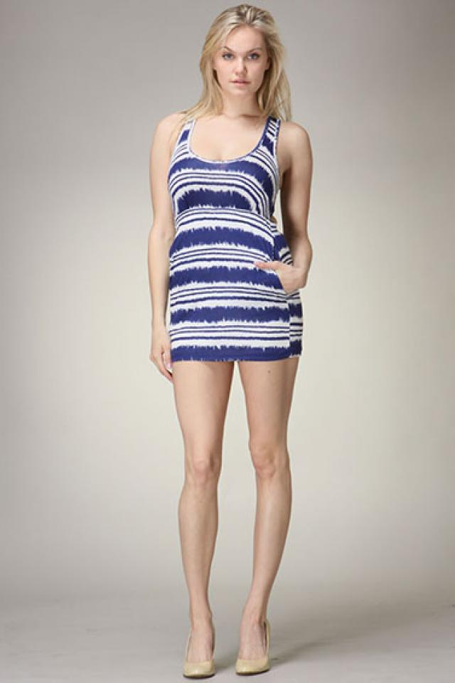 Blue and White abstract Mini dress  Photo