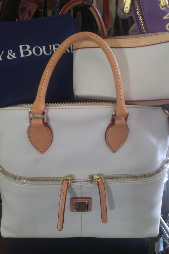 Dooney & Bourke 100% AUTHENTIC white leather satchel handbag purse w/ reciept Large Photo