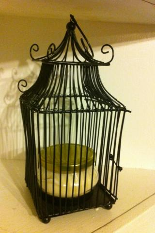 lotus blossom soy wax candle, bird cage  Photo