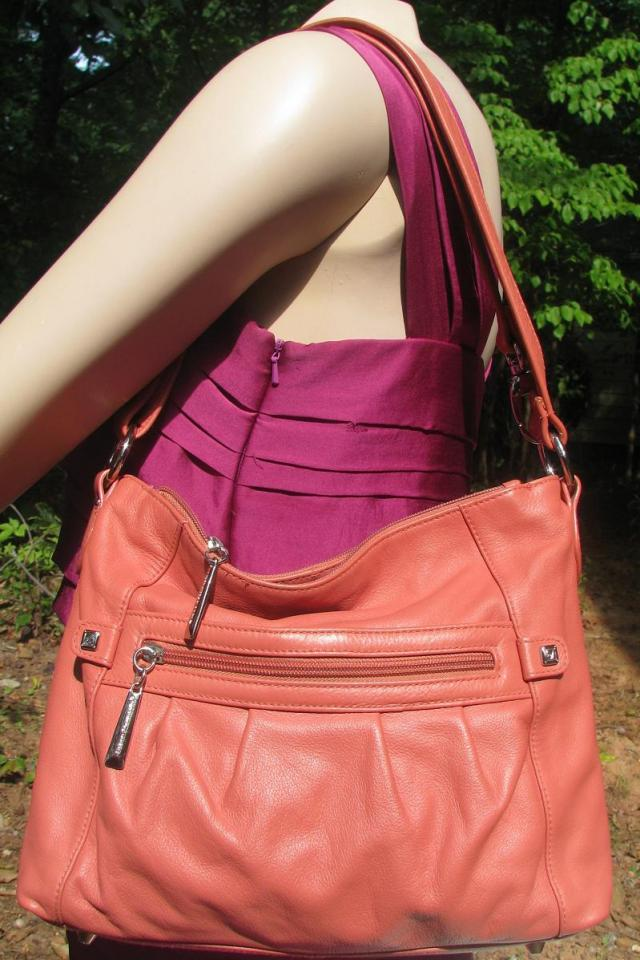♥♥♥STONE MOUNTAIN♥♥♥ Salmond Pink Leather Shoulder Bag Bag VERY TRENDY!!! Photo