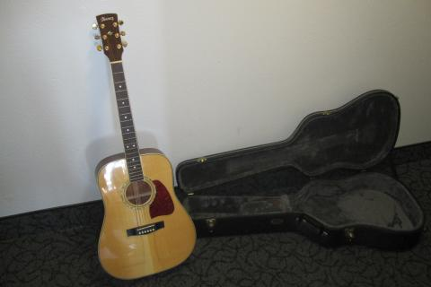 Hand Crafted Ibanez Acoustic Guitar with Hard Case and Electrical Tuner Photo