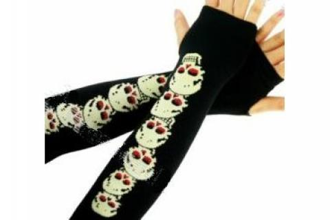 Fashion Fingerless Skull Pattern Soft Cotton Women Long Gloves Free Ship Photo