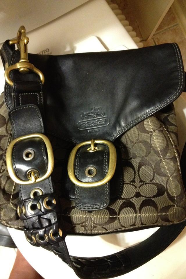 Coach Classic Cloth Design Dark Blue Leather Handbag Photo