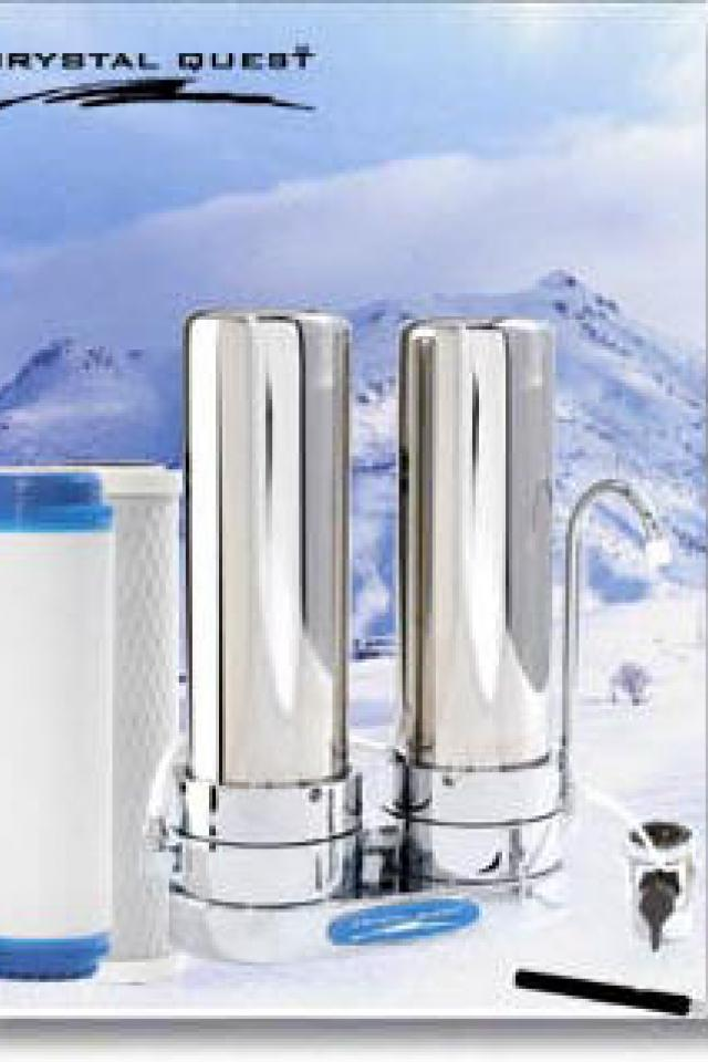CRYSTAL QUEST® Countertop Replaceable Double Nitrate Water Filter (Stainless) Large Photo