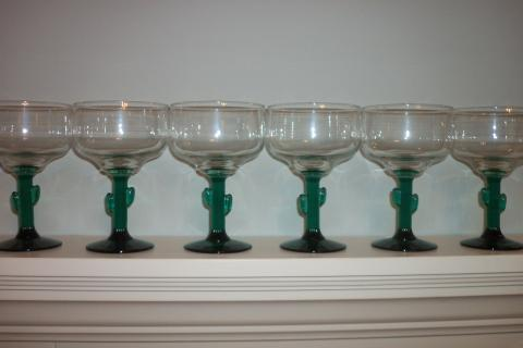 6 NEW MARGARITA GLASSES NEVER USED Photo