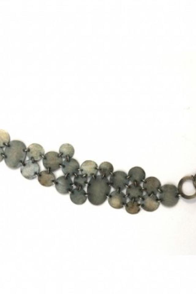 Oxidized Sterling Silver Bracelet with Aquamarine   Photo