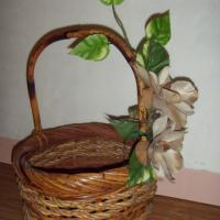 LARGE DURABLE BASKET WITH ARTIFICIAL FLOWERS INCLUDED. Photo