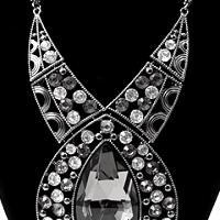 Neckace Set Large Crystal Design Black Diamond $18.99 Photo