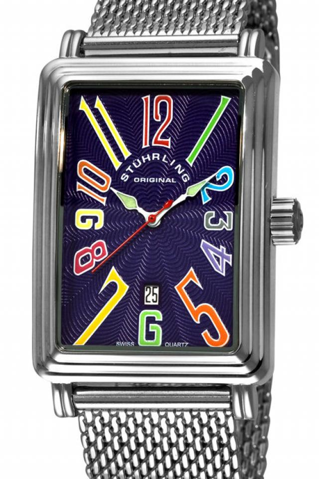 Stuhrling Original Men's 'Uptown Ozzie Genteel' Watch Purple Large Photo