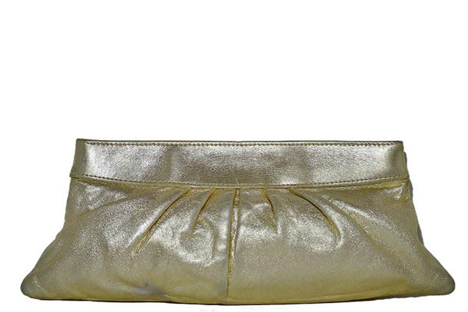 Lauren Merkin - Eve Metallic Hinged Clutch - Gold  Large Photo