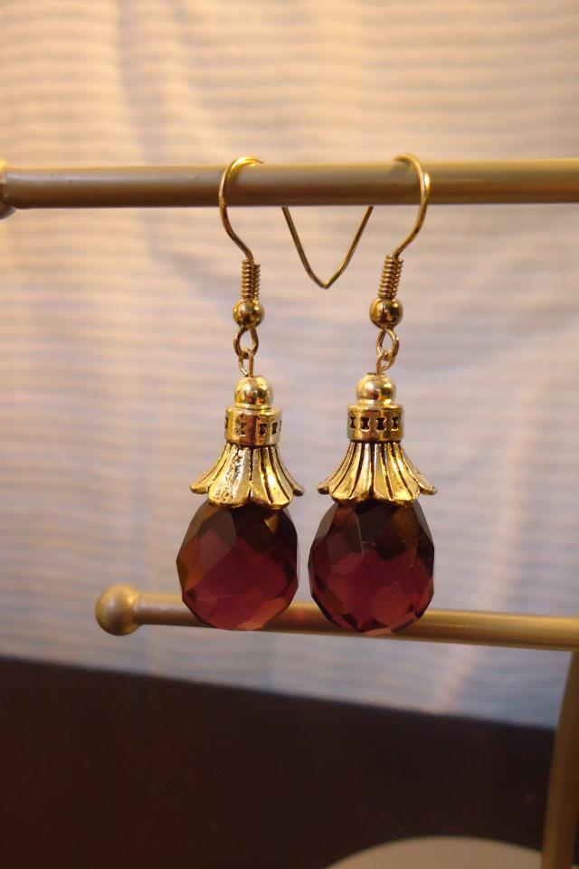 Pretty tibeten silver drop amethyst earring Photo
