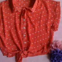 Orange Sheer Polka Dot Top  Photo
