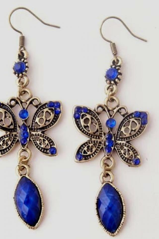 Vintage Butterfly Blue Crystal Copper Dangle Earrings FREE SHIPPING Large Photo