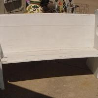 ANTIQUE CHURCH PEW SHABBY WHITE CURVED  Photo
