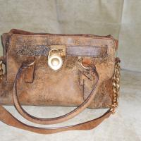 "Michael Kors Handbag- ""Hamilton"" Distressed Leather  Photo"