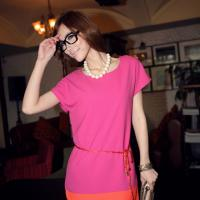 New Women`s Chiffon 2 Color Pink/Orange With Belt Sexy Dress Size S/M Photo