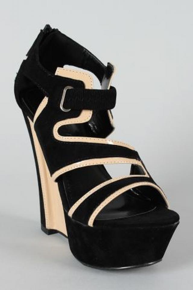 Black/Tan wedges shoes Size 8 for summer 2013 Photo