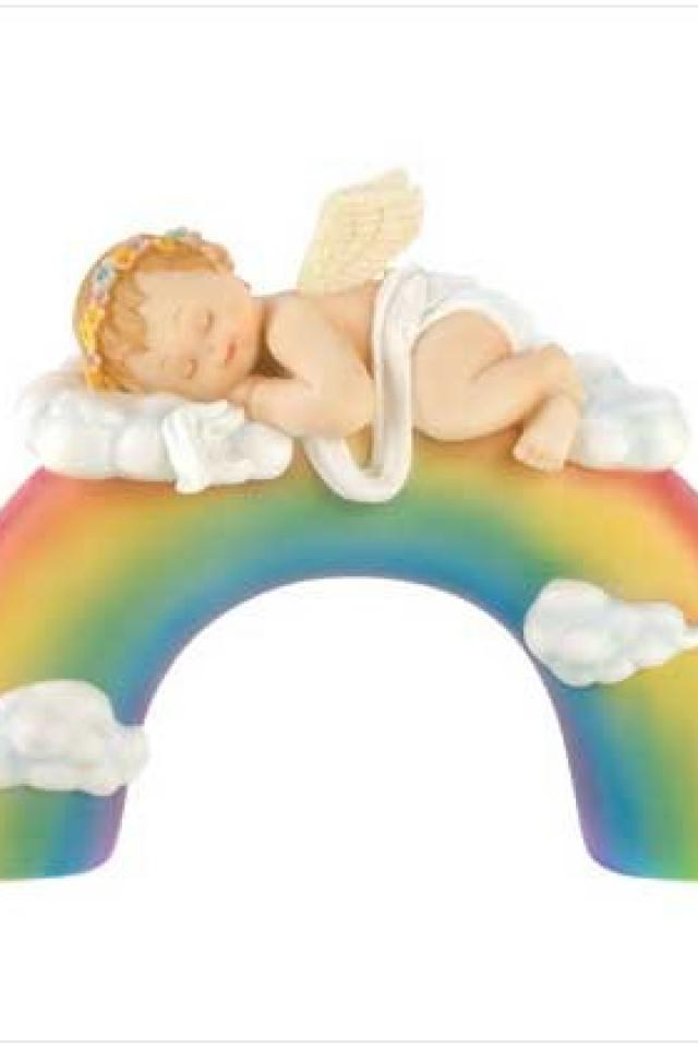 Baby Angel on top of Rainbow Large Photo