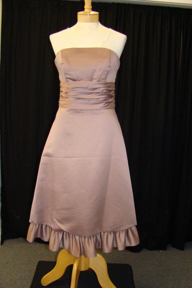New Rosy Brown sz 8 Satin Dress Large Photo