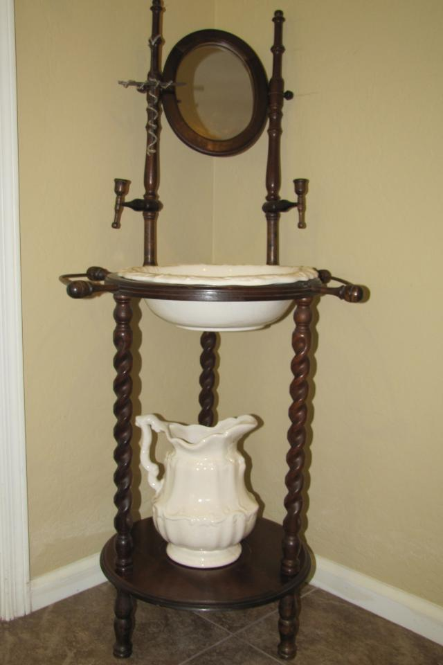 ANTIQUE WOODEN WASH STAND W/ POTTERY PITCHER, WASHBASIN Photo
