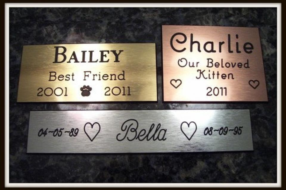 Pet Memorial Custom Engraved Personalized Plate Gold, Silver, Bronze Large Photo