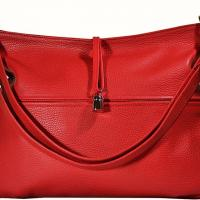 Lederer - Textured Leather Handbag - Red Photo