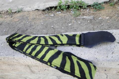 Green Zebra Pattern Guitar Strap Photo