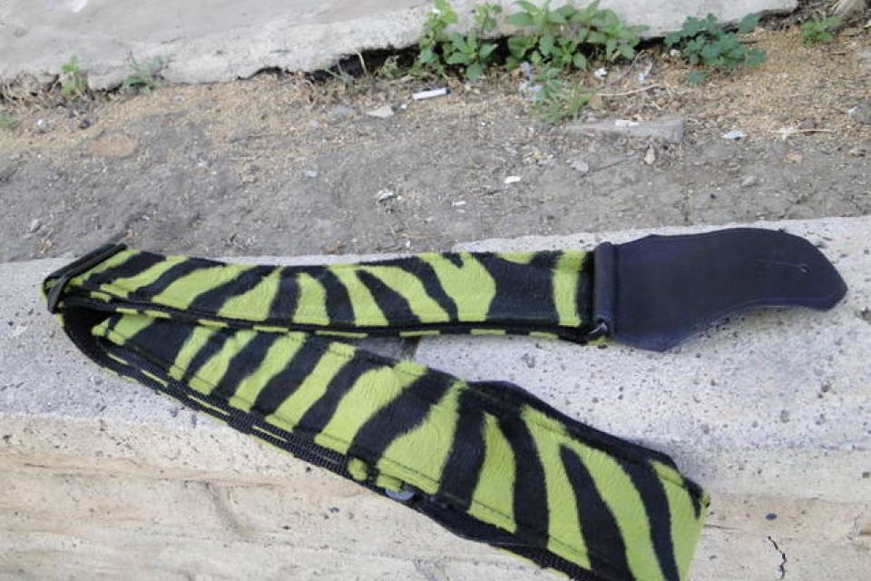 Green Zebra Pattern Guitar Strap Large Photo