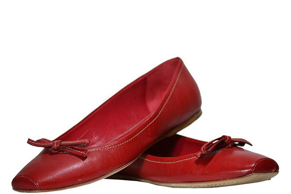 Miu Miu - Leather Flats With Bow - Red - Size 8 M Large Photo