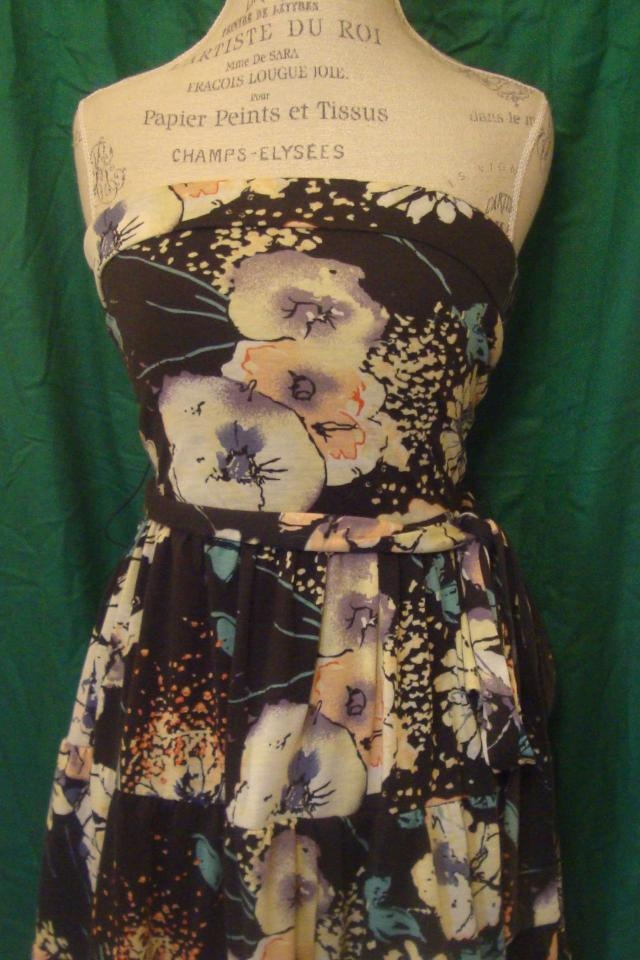 Foral Strapless Dress Large Photo