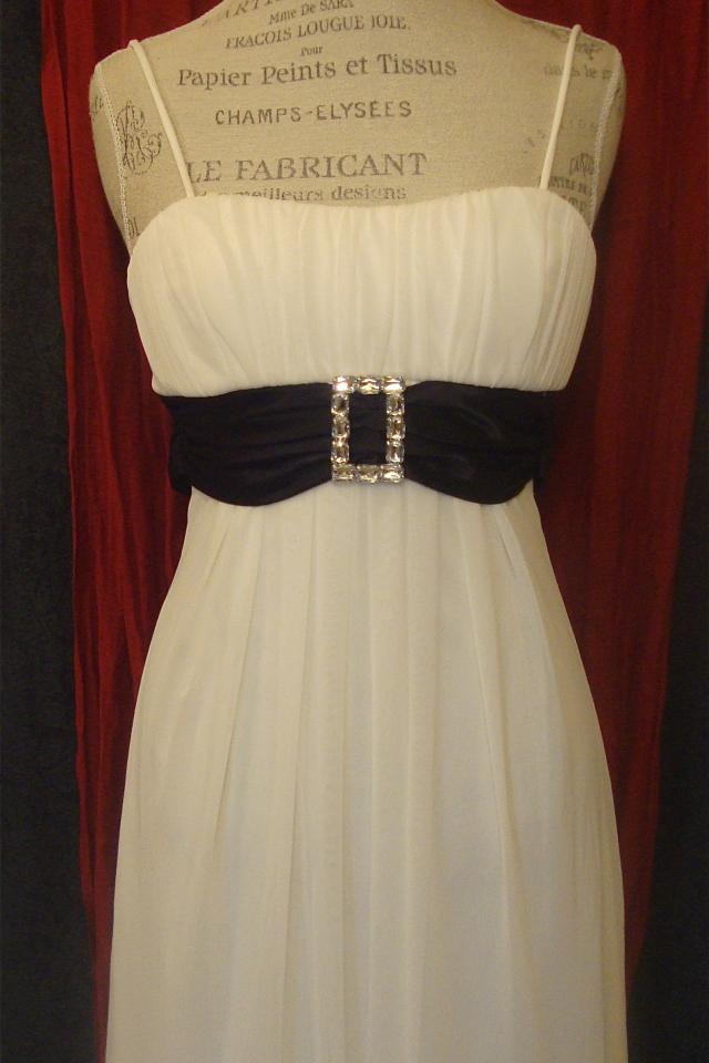 White Homecoming Dress w/ Black Satin Tie Photo